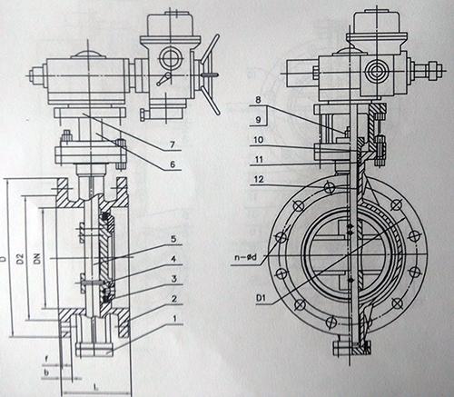 电动蝶阀结构图