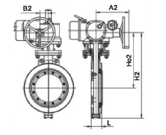 三偏心对夹硬密封电动蝶阀的结构