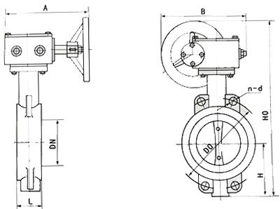 d671x中线对夹气动蝶阀结构图
