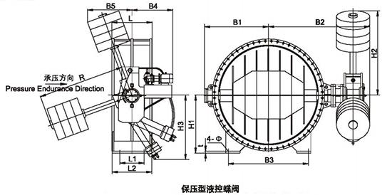 保压型液控蝶阀结构示意图