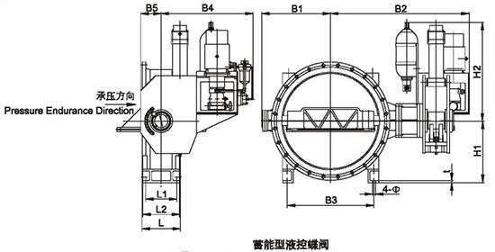 蓄能型液控蝶阀结构图