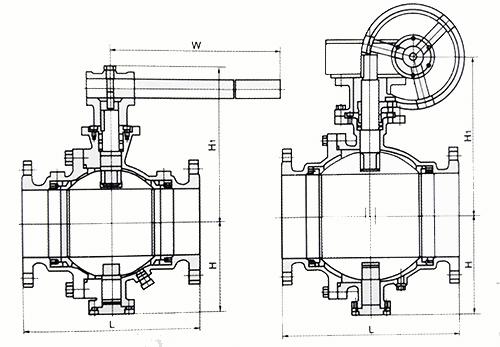 q347h/q347f硬密封固定球阀结构示意图
