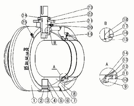 q61f焊接球阀结构示意图
