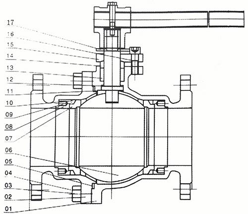 q41f浮动球阀结构示意图