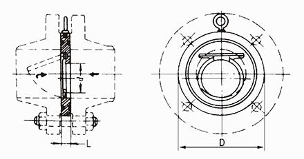 对夹圆片式止回阀结构示意图