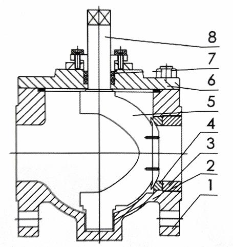 偏心半球阀结构示意图