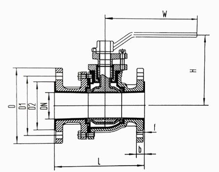 衬氟球阀结构示意图