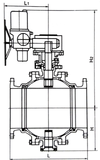 电动固定球阀结构示意图