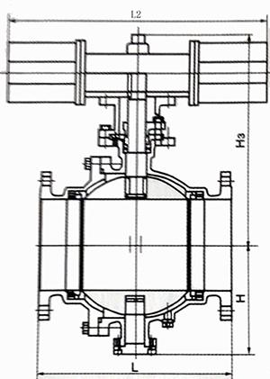 气动固定球阀结构示意图