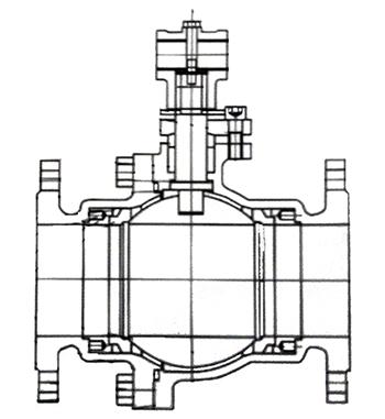 不锈钢涡轮法兰球阀结构示意图