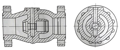 轴流平衡式节流截止阀阀体体形