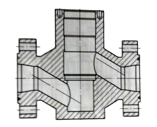 轴流平衡式节流截止阀T形垂直通道
