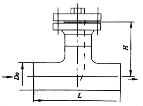 T型直通对焊连接式过滤器结构示意图