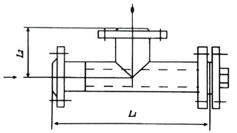 T型焊接式法兰连接过滤器结构示意图