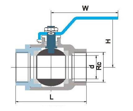 二片式球阀结构示意图