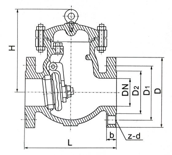 低温旋启式止回阀结构示意图