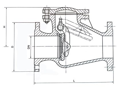 H44T旋启式铸铁止回阀结构示意图
