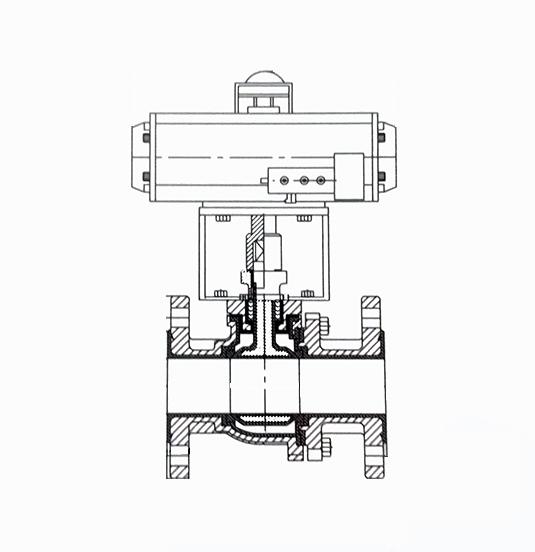 气动衬氟O型/V型调节球阀结构示意图