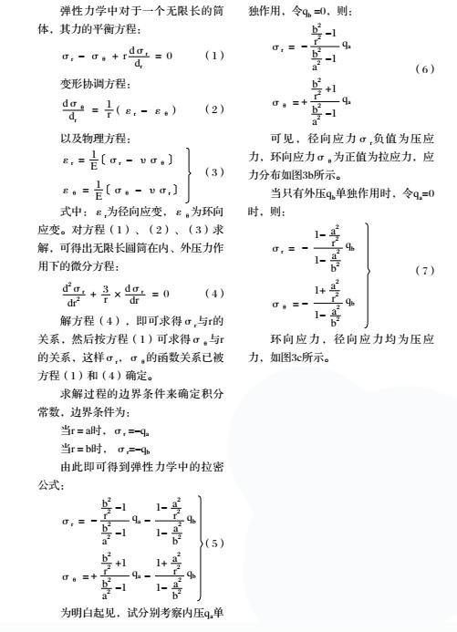 弹性力学中对于一个无限厂的筒体其力的平衡方程